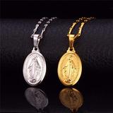 Collar Medalla Virgen Milagrosa De Paris Laminado Oro 18k