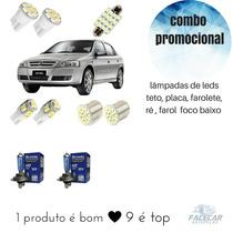 Lampadas Leds Astra + Super Brancas Farol Baixo 9 Itens