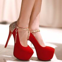 Sapato Casamento Festa Luxo Plataforma Vermelho Importado