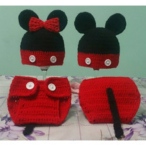Touca E Tapa-fralda Em Crochê Mickey Unissex Newborn