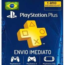 Cartão Psn Plus 12 Meses Br Brasil Brasileira Playstation