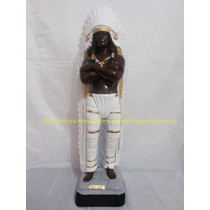 Escultura Caboclo Caçique Pena Branca Imagem Estatua 50cm