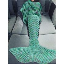 Cola De Sirena Cobija Tejida Crochet 1.80m / Envío Gratis!