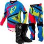 Kit Conjunto Motocross Bota Calça Camisa Insane 4 + Luva Asw