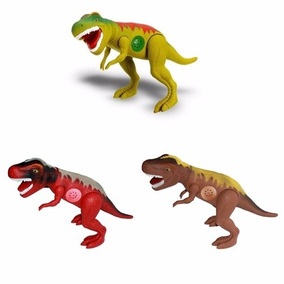 Kit 3 Dinossauros Tirano Rex 43cm Emite Som Adijomar