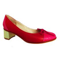 Zapatos Cuero Rojo Fucsia Taco Medio Platino N°38- Frou Frou