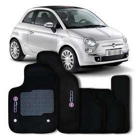 Tapete Carpete Preto Fiat 500 Com Logo Bordado - 5 Peças