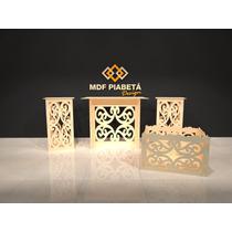 Kit Provencal Arabesco Em Mdf Cru Mesa Cubos Caixa Presente