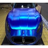 Vinil Automotriz Cepillado Azul Cromo Brushed Autoelite