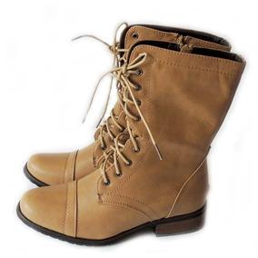 Bota De Piel Zapato Botin Casual Vaquera Militar Tacon Dama