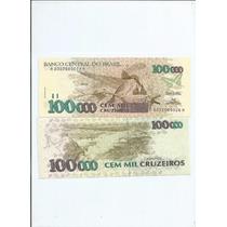 Cedula 100000 Cem Mil Cruzeiros C/ Carimbo 14.00 - Fé