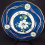 Belo Antigo Prato Porcelana Alemã A Mão Flor Branca E Ouro