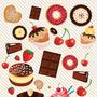 Adesivo De Parede Cupcake Doces Frutas Lavável Fosco 3,05