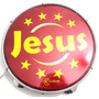 Pandeiro Luen 10 Jesus Aro Abs Vermelho Pele Holográfica
