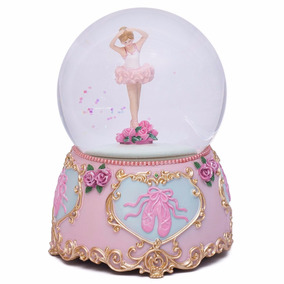 Bola De Agua Cristal Musical Bailarina Ballet Decorativa Ros