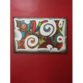 cuadro abstracto relieve texturado moderno pintado a mano