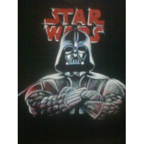 Remera, Darth Vader, Pintada A Mano! Talle M