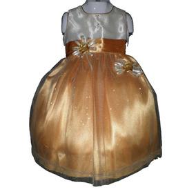 Nuevo Vestido Dorado Con Glitter Bebita Princesa Fiesta