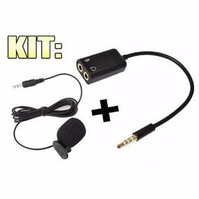 Kit Microfone De Lapela + Adaptador Para Celular Smartfhone