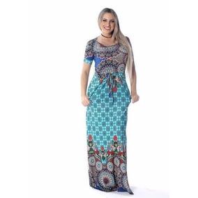 Vestido Longo Feminino Estampado Com Manguinha E Bolso!