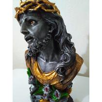 Busto De Cristo Negro Con Pedestal Escultura De Resina 36cm