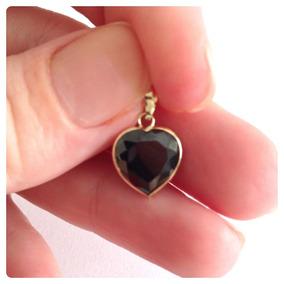Pingente Coração Pedra Preto Ônix De 10 Mm Joia De Ouro 18k