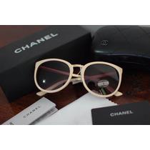 Óculos Chanel Creme Dourado Feminino Original Completo