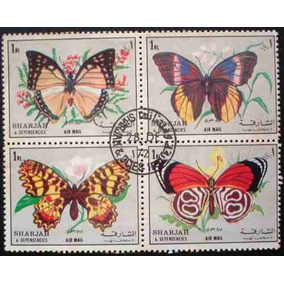 3569 Sharjah Borboletas Fauna Série De 4 Selos Em Bloco Circ