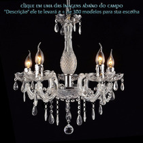 Lustre De Vidro + Cristal Maria Tereza 5 Lamp. E14