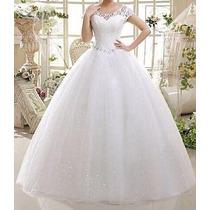 Vestido De Noiva Trapézio U Profundo Comprido Renda - Novo