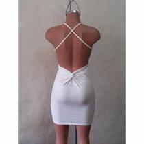 Sexy Mini Vestido Blanco De Tirantes Cruzados En Espalda