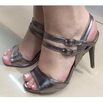 Sandalia Salto Alto Fino Fivelas Verniz Prata Metalizada