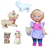 Kelly Pets Muñeca Articulada Chica Con Mascotas Perritos