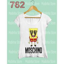 Bob Esponja Moschino Camiseta Tshirt Feminina Moda Estampa
