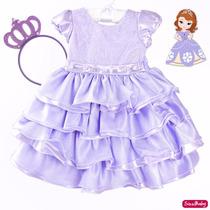 Vestido Sofia Barbie Luxo Lilás Infantil Com Tiara Princesa