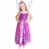 Fantasia Barbie Princesa Fada Infantil Luxo Licenciada