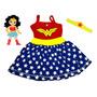 Vestido Infantil Mulher Maravilha - Carnaval - Com Brinde