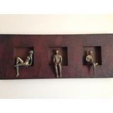 Cuadro Madera Escultura Pensante, Hombre O Mujer, De Ziña