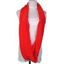 Bufanda Circular Larga Tejida Con Excelente Diseño, Roja.