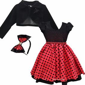 Vestido Joaninha Ladybug Minnie Festa 4 Ao 16 E Tiara Bolero