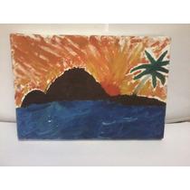 Tela Ost Pintura Paisagem Ilha - Sem Assinatura