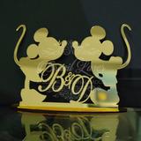 Topo De Bolo Mickey E Minnie Acrílico Esp. Dourado 14cm 1057