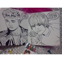 12 Invitacion Justin Bieber Para Colorear Incluye 4 Crayolas
