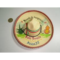 Antiguo Mini Sombero Charro Mexicano Pintado Al Oleo