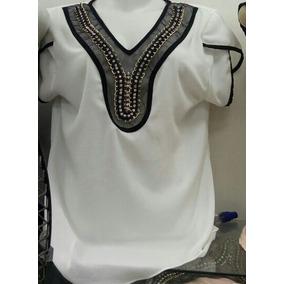 Blusa Camisa Festa Feminino Bordada Pedraria Social Crepe