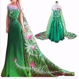 Vestido Frozen Elsa Fever Luxo Cauda Longa + Coroa No Brasil