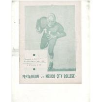 Futbol Americano Programa 1952 Pentahlon-mexico Cty College