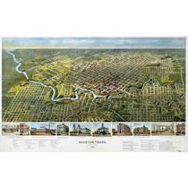 Lienzo Tela Mapa De Houston Texas 1891 50 X 80 Cm Decoración