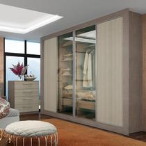 Guarda-roupa Casal 4 Portas (2 Vidro) Reflecta Madesa