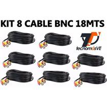 Kit De 08 Cables De Camara Bnc 18mts Video Y Corriente